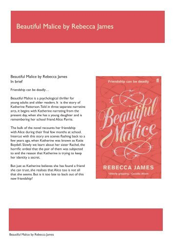 Beautiful Malice by Rebecca James - Faber and Faber
