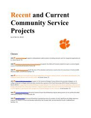 Recent and Current Community Service Projects - Alumni ...