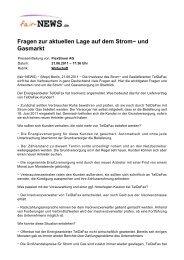 Fragen zur aktuellen Lage auf dem Strom- und ... - fair-NEWS.de
