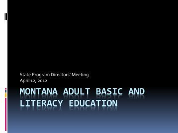 Montana Adult Basic and Literacy Education - NW LINCS