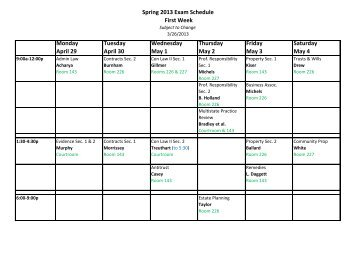 Spring 2013 Exam Schedule First Week Monday April 29 Tuesday ...