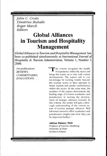 global alliances in tourism and hospitality management 0789008181