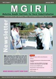 N e w s le tte r - Mahatma Gandhi Institute for Rural Industrialization