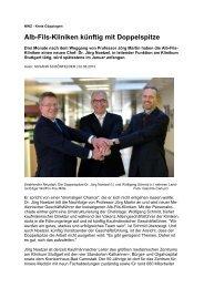 Alb-Fils-Kliniken künftig mit Doppelspitze