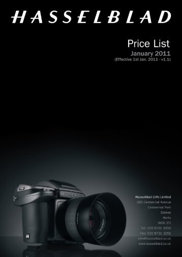 hasselblad uk ltd - price list january 2011 - v1.1 - Teamwork