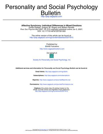 Bulletin Personality and Social Psychology - The Personality Project