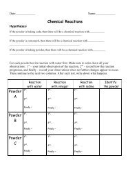 Chemical Reactions Powder A Powder B Powder C
