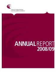 Annual Report 2008/2009 - Council of Canadian Academies