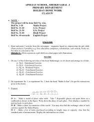 Holiday Homework Class IV - Apeejay Education Society