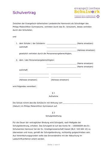 Schulvertrag - Philipp Melanchthon Gymnasium Meine