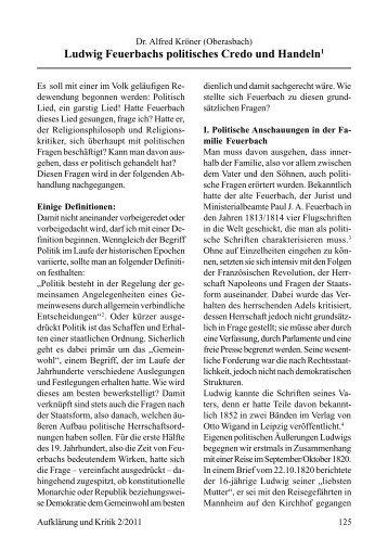 Ludwig Feuerbachs politisches Credo und Handeln1