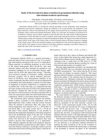 Physical Properties Of Germanium Telluride