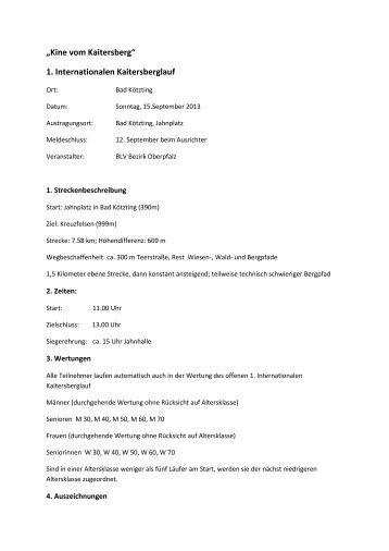 Ausschreibung 1. Int. Kaitersberglauf 2013