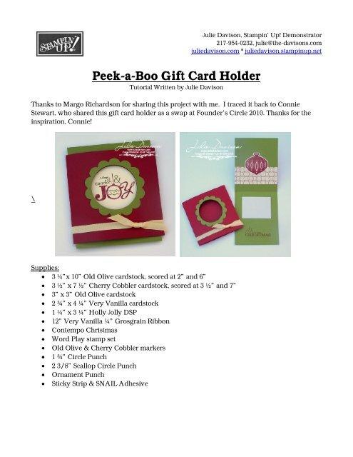 45390b7b583d the Peek-a-Boo Gift Card Holder Tutorial - Julie s Stamping Spot