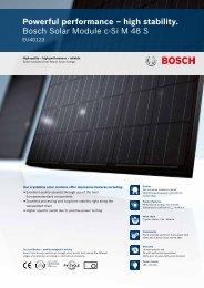 Powerful performance – high stability. Bosch Solar Module c-Si M 48 S