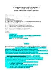Projet de décret portant application de l'article 6 de la loi ... - Globenet