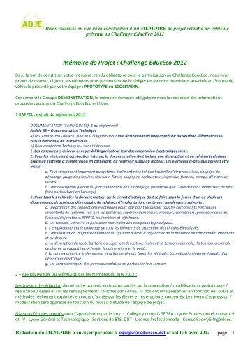 Mémoire de Projet : Challenge EducEco 2012
