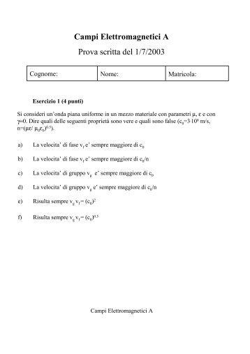 Campi Elettromagnetici A Prova scritta del 1/7/2003