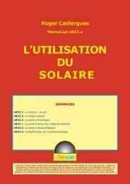 L'UTILISATION DU SOLAIRE