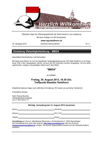 Bulletin 2 - Offiziersgesellschaft Stadt Solothurn & Umgebung