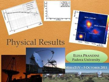 Risultati fisici dall'analisi di dati Cherenkov