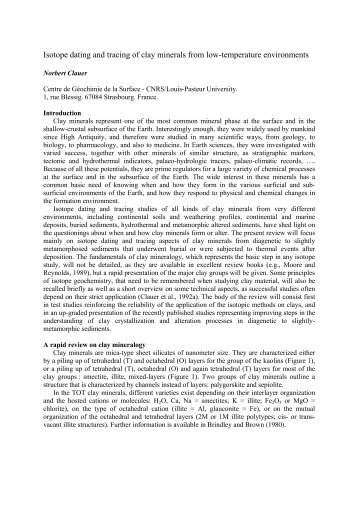 Isotope dating and tracing of clay minerals from low-temperature ...