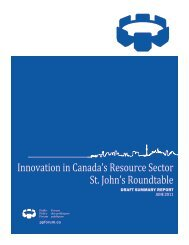 Innovation in Canada's Resource Sector St. John's Roundtable