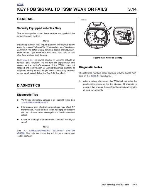 key fob signal to tssm weak or fails 3 14 - harley-davidson