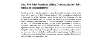 Was a New Polish Translation of Hans Christian Andersen's Fairy ...