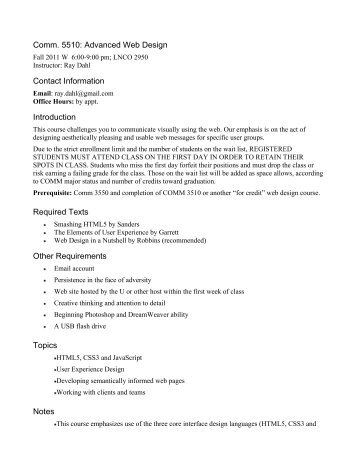 Comm. 5510: Advanced Web Design Contact Information ...