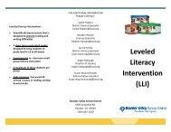 Leveled Literacy Intervention (LLI) - Boulder Valley School District