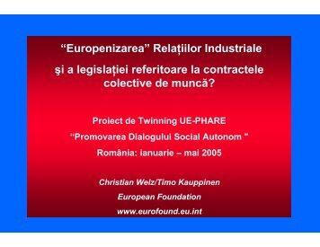 """""""Europenizarea"""" Relaţiilor Industriale şi a legislaţiei ... - Meridian"""
