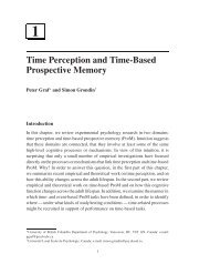 1 Time Perception and Time-Based Prospective Memory