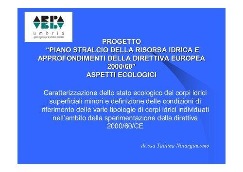 direttiva wfa 2000/60 ec - ARPA Umbria