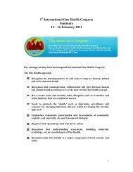 1 International One Health Congress Summary 14 – 16 February 2011
