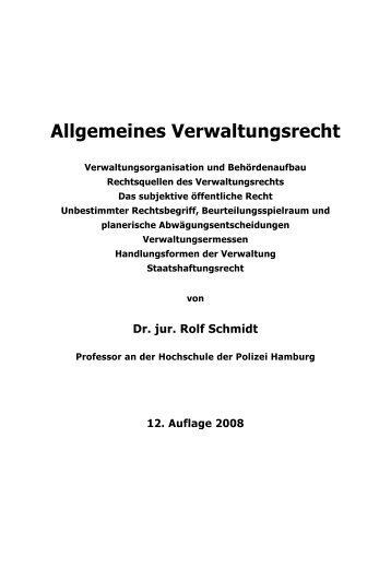 Allgemeines Verwaltungsrecht - Schmidt, Readingsample
