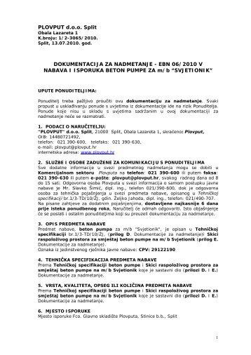 PLOVPUT d.o.o. Split DOKUMENTACIJA ZA NADMETANJE - EBN ...