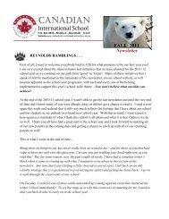 FALL 2011 Newsletter - Canadian International School Abu Dhabi