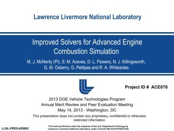 Improved Solvers for Advanced Engine Combustion Simulation
