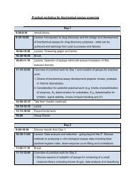 Practical workshop for biochemical assays screening Day 1 9:00-9 ...