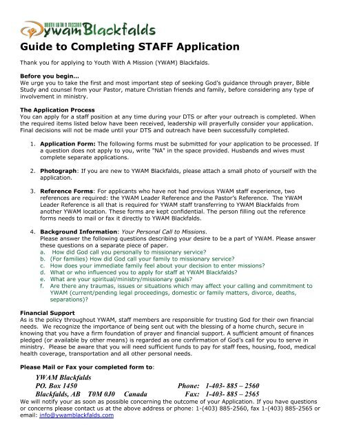 Guide to Completing STAFF Application - YWAM Blackfalds