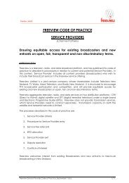 FREEVIEW CODE OF PRACTICE SERVICE PROVIDERS