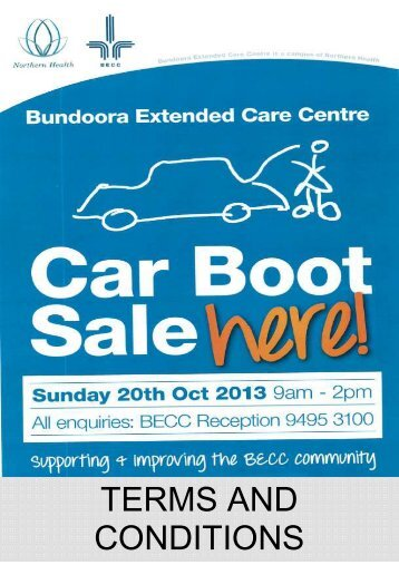 Rules and Regulations for car boot sale