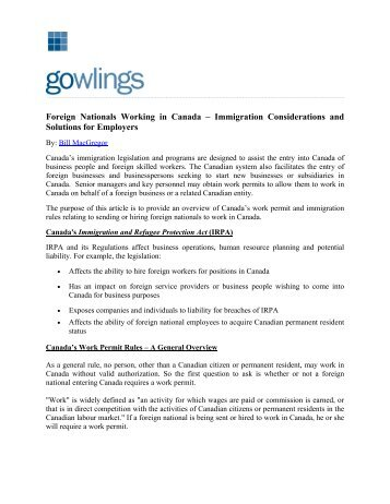 Hiring Foreign Workers in Canada - An Immigration ... - Gowlings