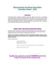 Secondary Award Application - Massachusetts Vocational Association