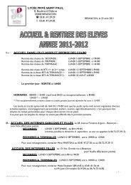 CIRCULAIRE RENTREE 2011 - Site web du groupe scolaire St ...