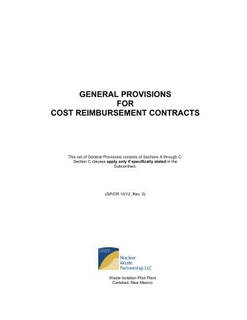 NWP General Provisions for Cost Reimbursement Contracts (11-09 ...