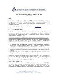 POINTS SAILLANTS DU BUDGET FÉDÉRAL DE 2005 ... - ACAHO