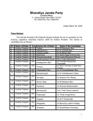 List of BJP candidates for Legislative Assembly Election 2009 for ...