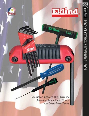 product catalog / november 1, 2009 - Eklind Tool